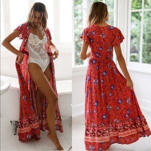 Dresses & Skirts - 🌹Sale Boho V Neck High Split Boho Wrap Dress